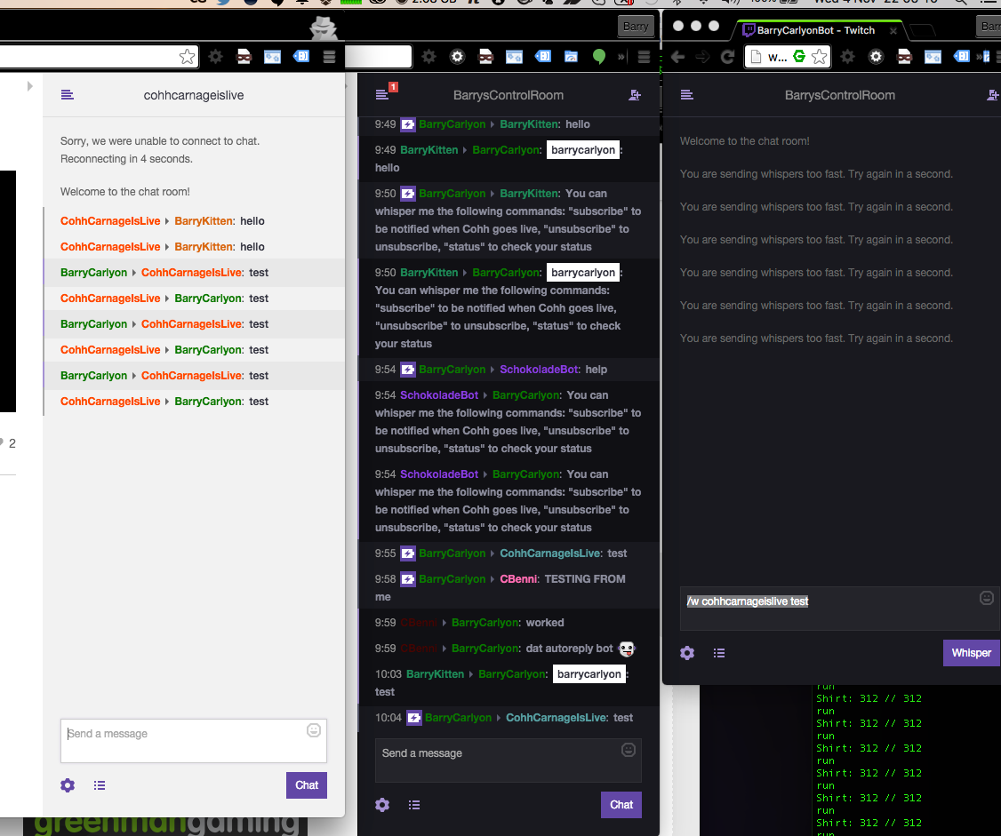 Bot banned from Whispers?! - Twitch Messaging Interface and Chat