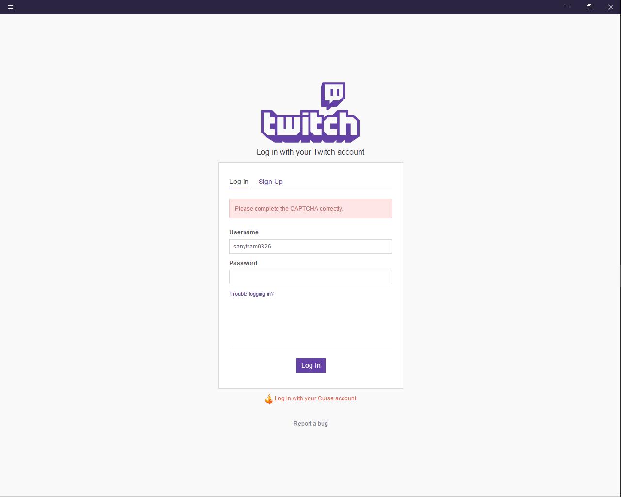 Cant login, please complete captcha problem - API - Twitch