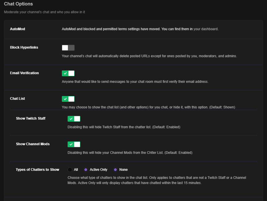 rework redesign chatter list with options of what to show not show