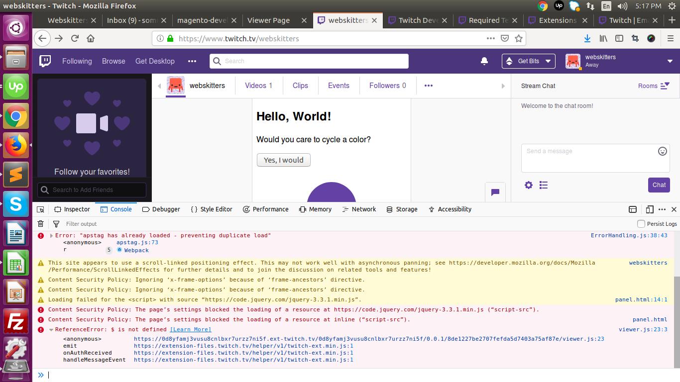 Twitch Error Loading Data 2019