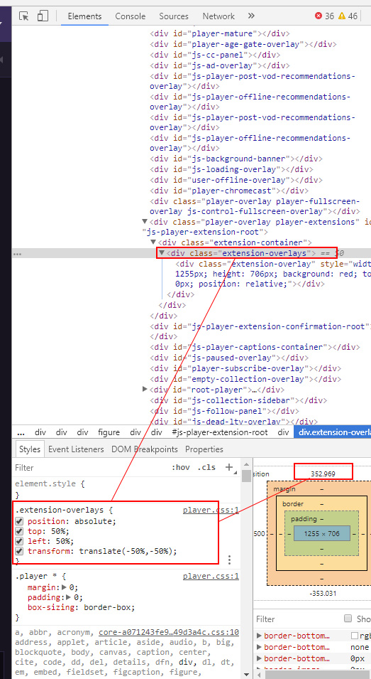 CSS transform on overlay extensions causes issues