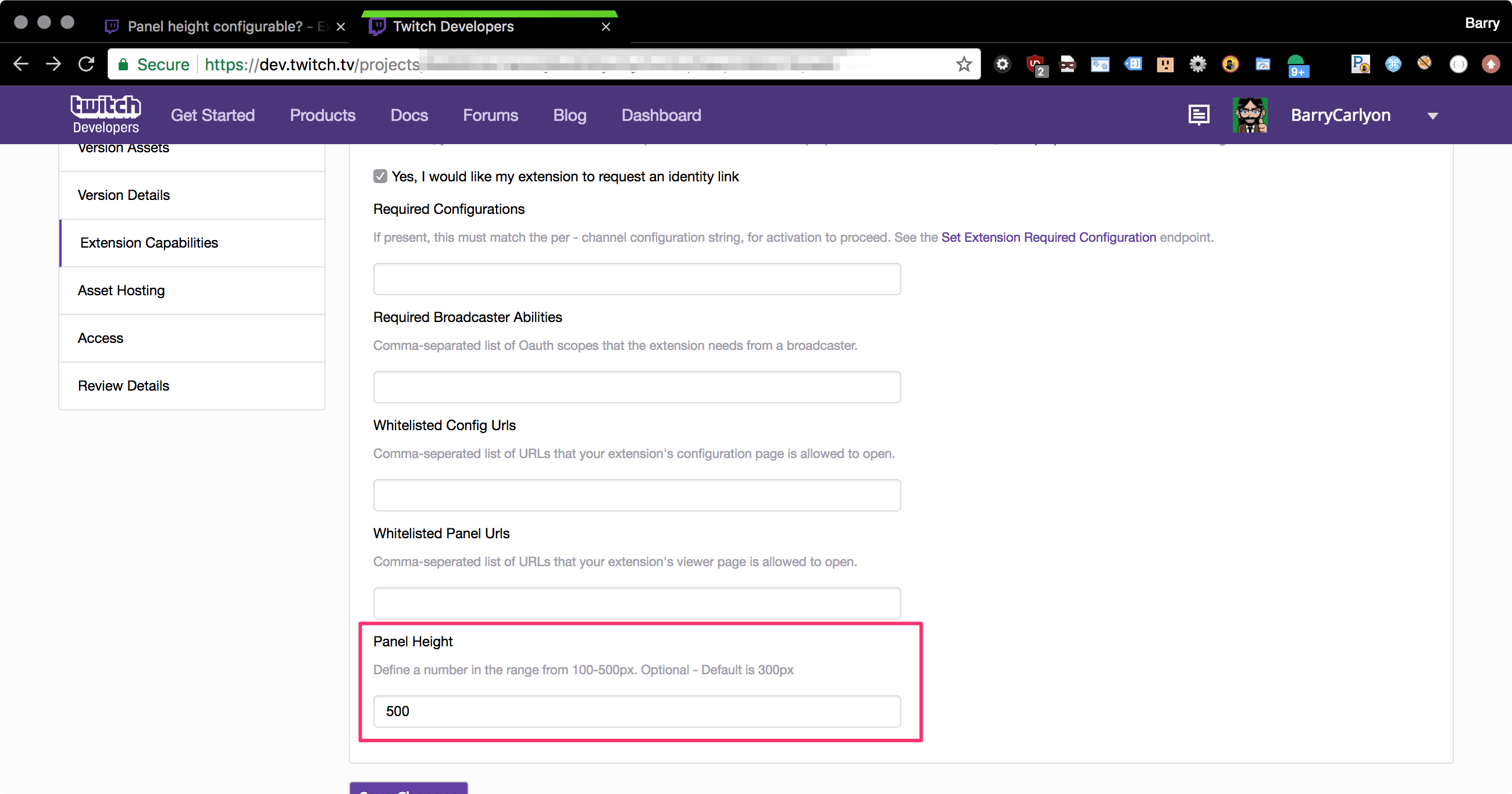 Panel height configurable? - Extensions - Twitch Developer